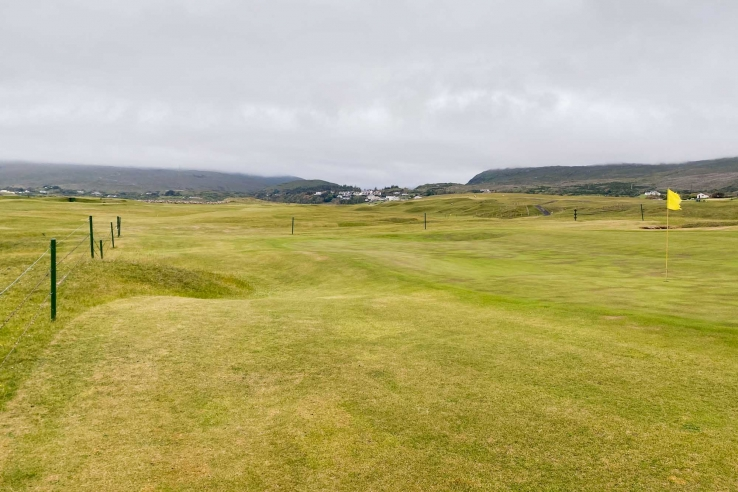 The stiff breeze affecting play at Mulranny Golf Club.