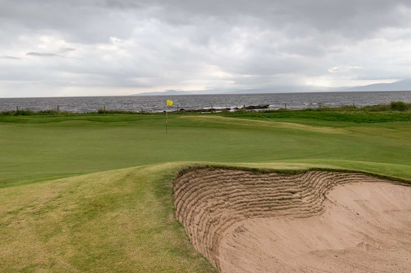 A revetted bunker at West Kilbride Golf Club.