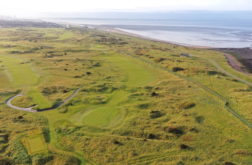 A drone shot of the West Lancashire Golf Club.