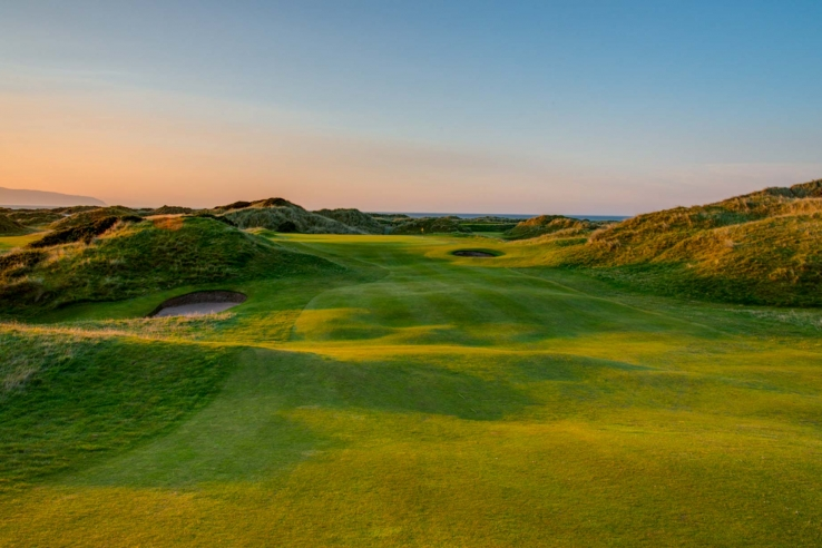 A photo of the rumpled fairways at Aerial photo of the Castlerock Golf Club Mussenden Links.