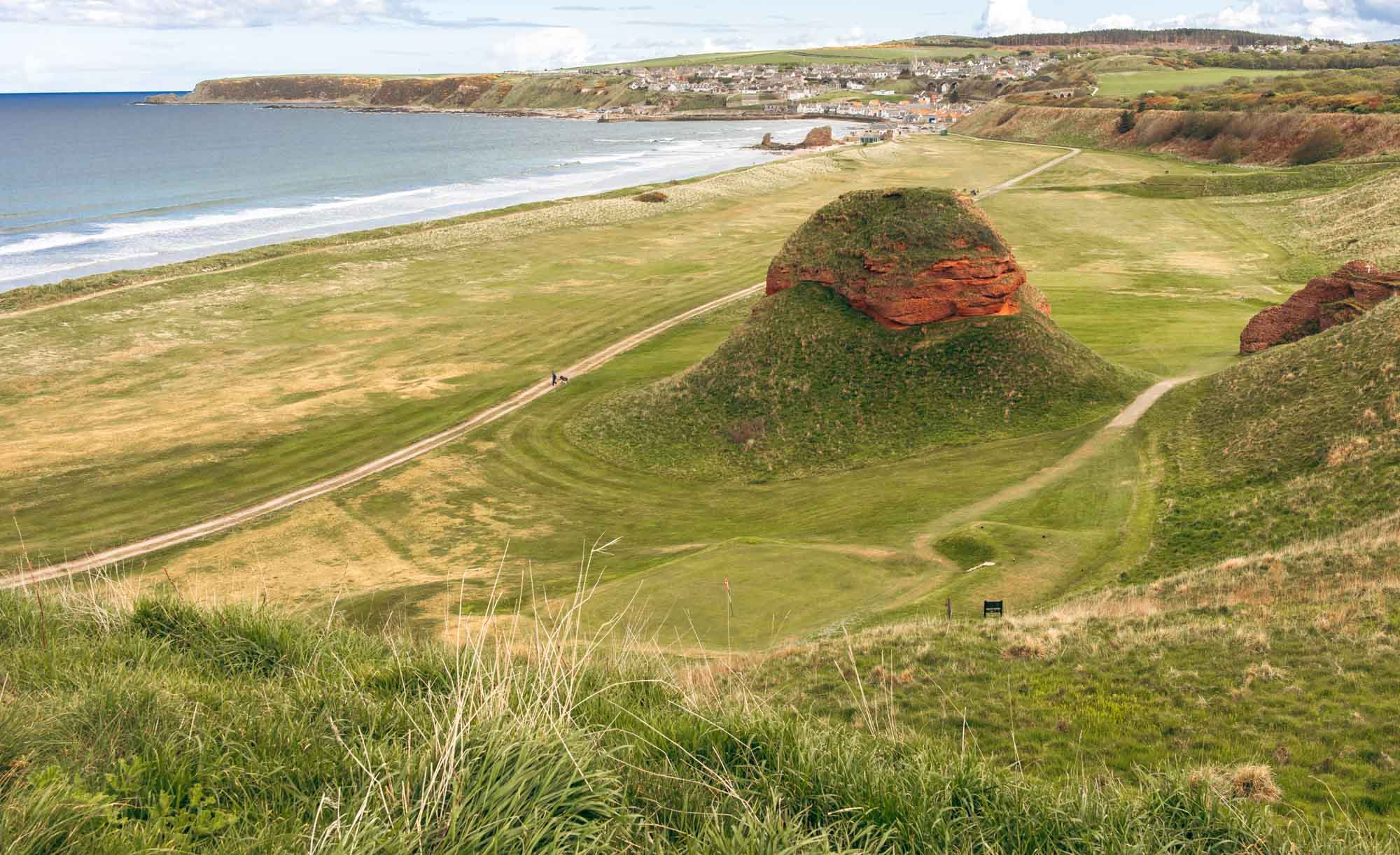 The iconic red sandstone at Cullen Links Golf Club.