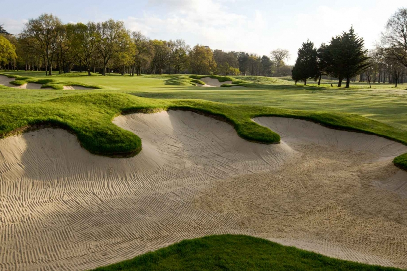 The Harry Colt inspired bunkers at Stoke Park Golf Club.