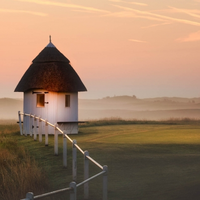 The starters hut at sunrise at Royal St Georges.