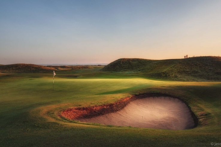 A photo showing the penal bunkers at Royal St Georges - one of the best golf courses Kent.