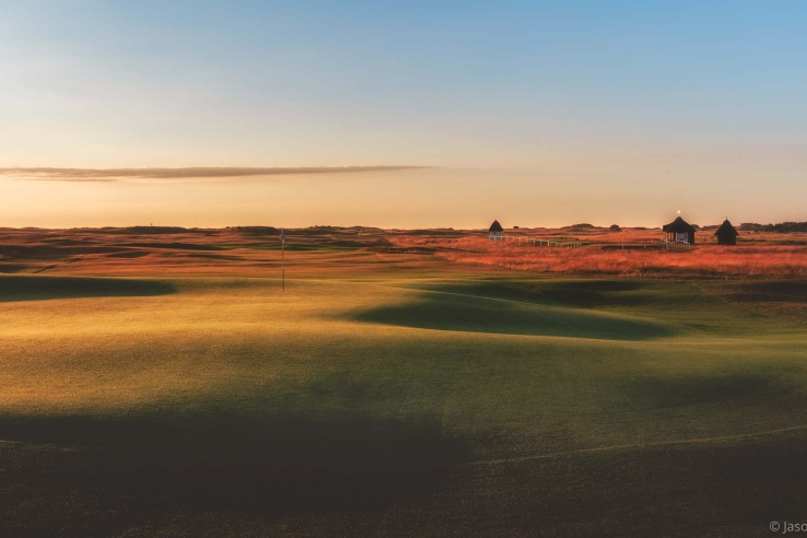 The gentle undulations at sunrise at Royal St Georges.
