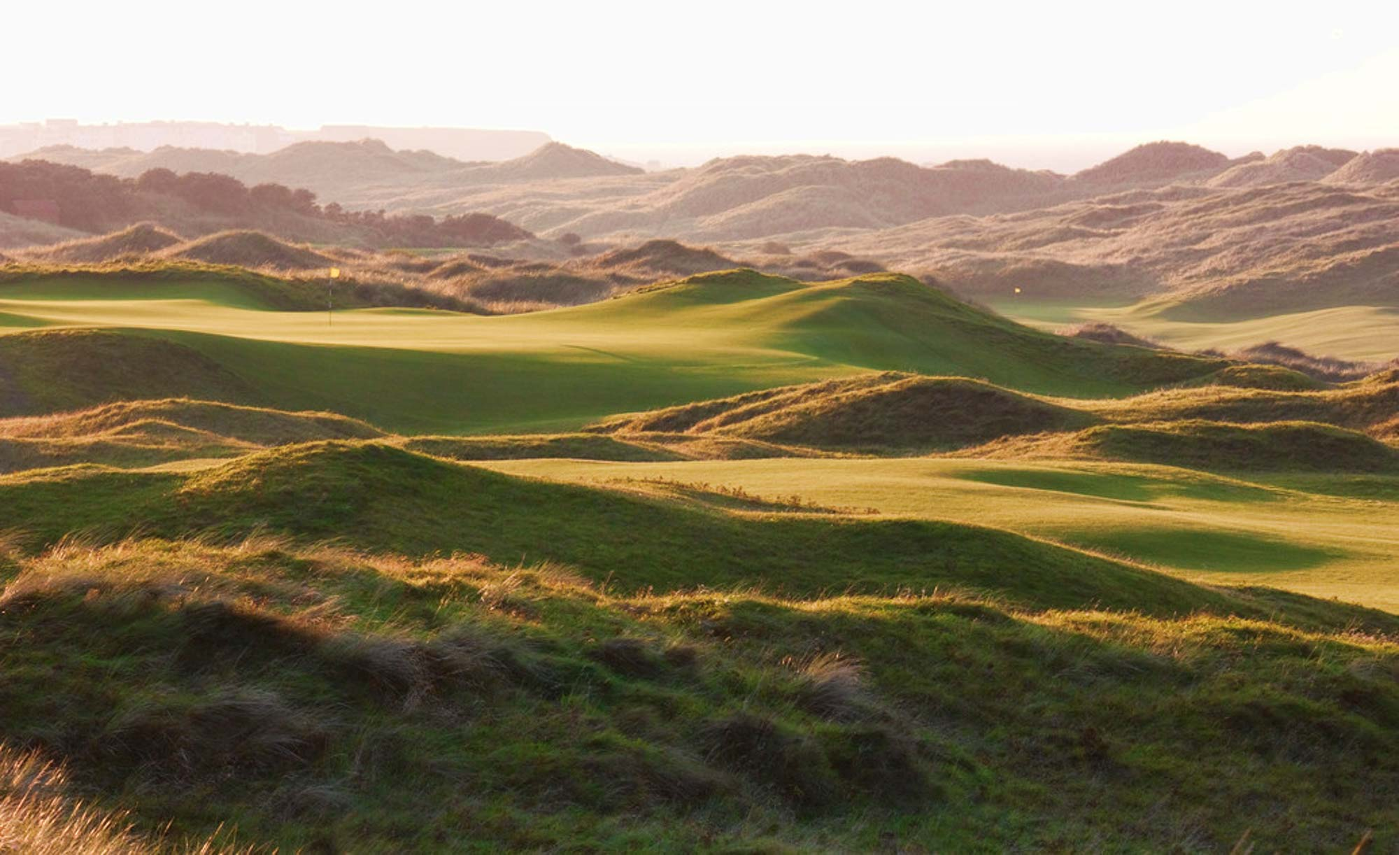 The rugged swales and undulations of the links at Royal Portrush Golf Club.
