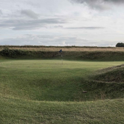 The iconic punchbowl green at Minchinhampton Old Course.