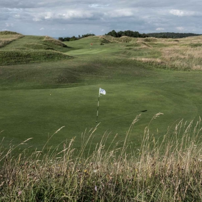 The famous hidden green on the hilltop at Painswick Golf Club.