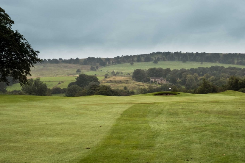 The approach to the 8th green at Cavendish Golf Club in England.