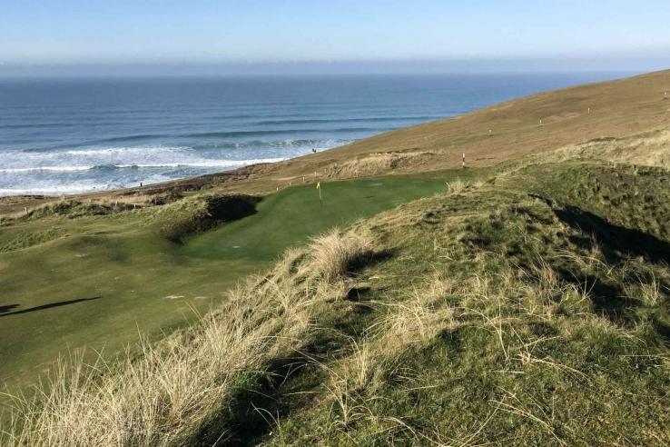 The rugged Cornish coastline at Perranporth Golf Club.