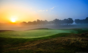 A stunning photo of West Sussex Golf Club in the early morning. The course is found in the London Gatwick Airport LGW best golf courses guide.
