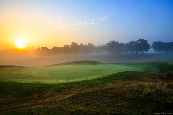 A stunning photo of West Sussex Golf Club in the early morning.