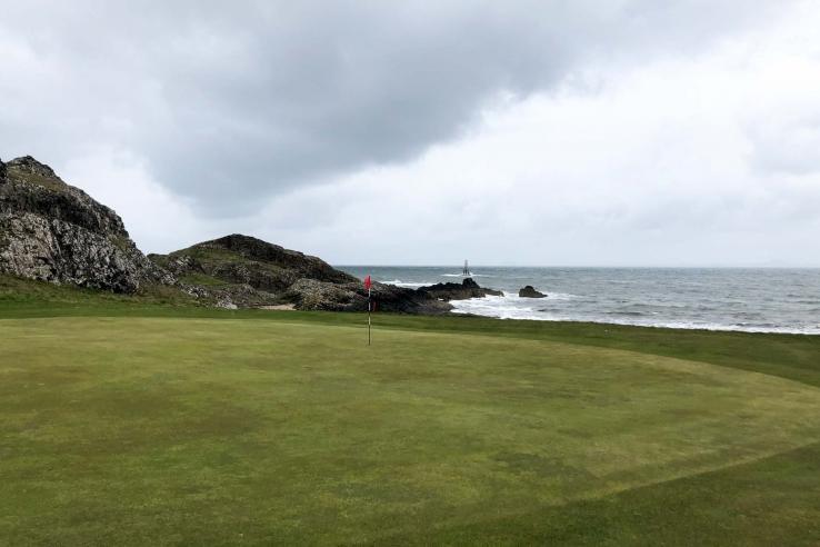 The rugged links of Elie Golf Club or Golf Club House.