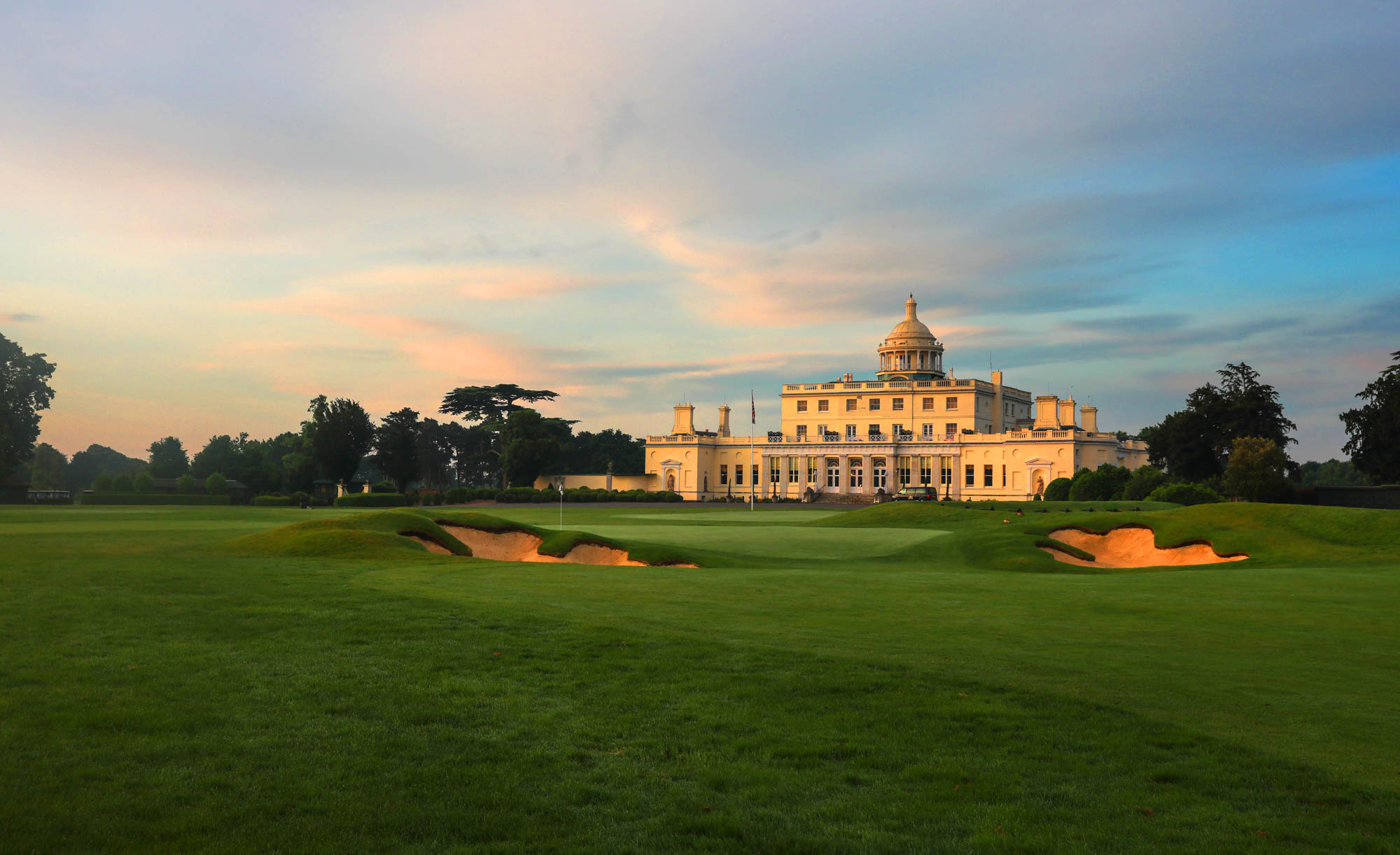 The iconic clubhouse at Stoke Park Golf Club.