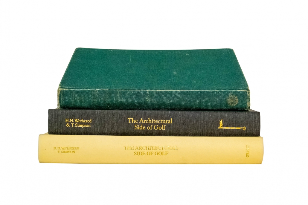 Building a golf course architecture library doesn't need to be expensive. A photo of three books. 2 reprints and the 1952 book Design for Golf are shown as examples.