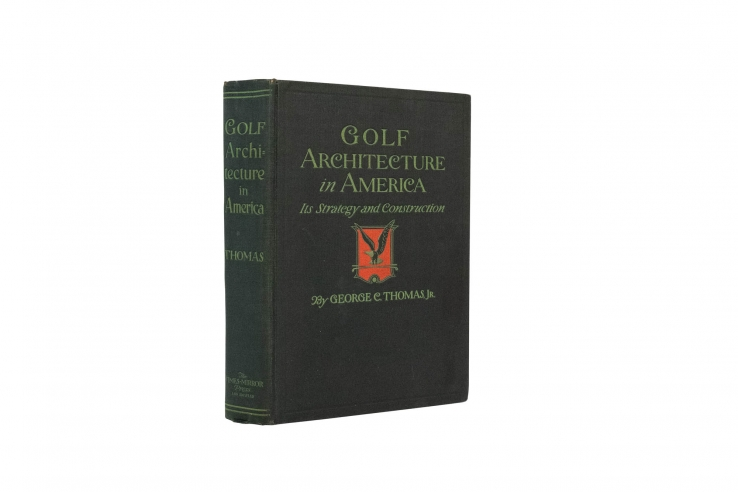 A photo of the very rare first edition of the book Golf Architecture in America by George C Thomas.