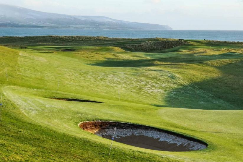 The cavernous bunkers at Brora Golf Club.