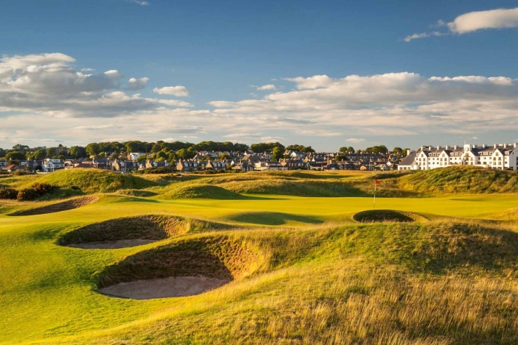 The revetted faces of the treacherous bunkers at Carnoustie Golf Links Championship Golf Course.