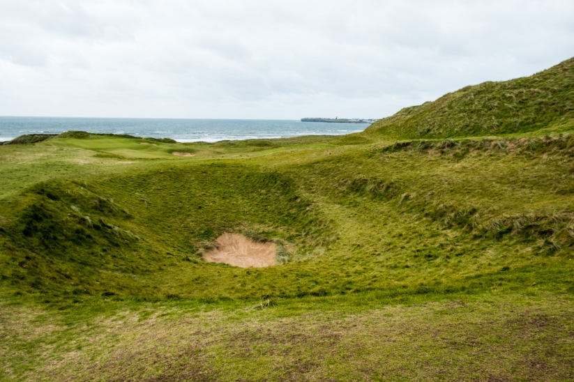 The centreline hazard on the 7th hole at Lahinch Golf Club Old Course.