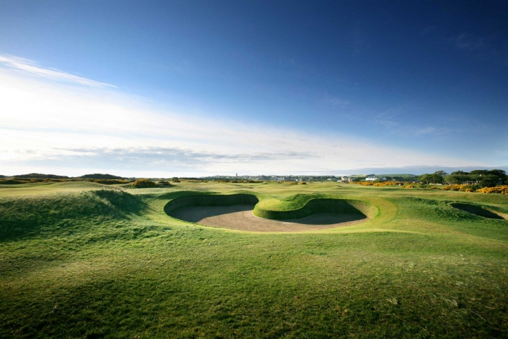 A photo of the a revetted bunker at The Old Course St Andrews.