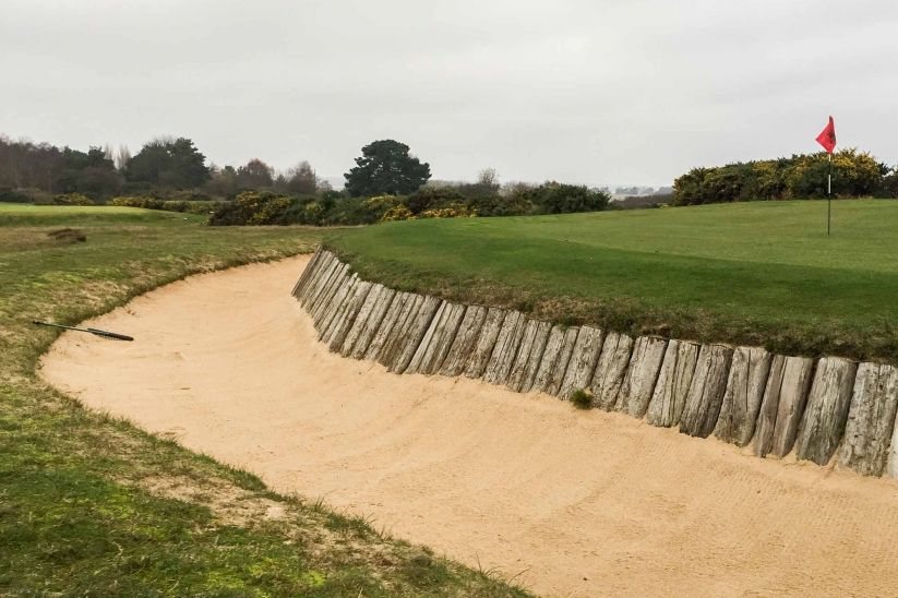 A photo of the famous short hole at Aldeburgh Golf Club.