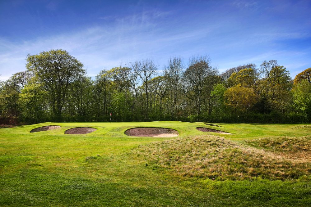 Revetted bunkers at Fairhaven Golf Club.