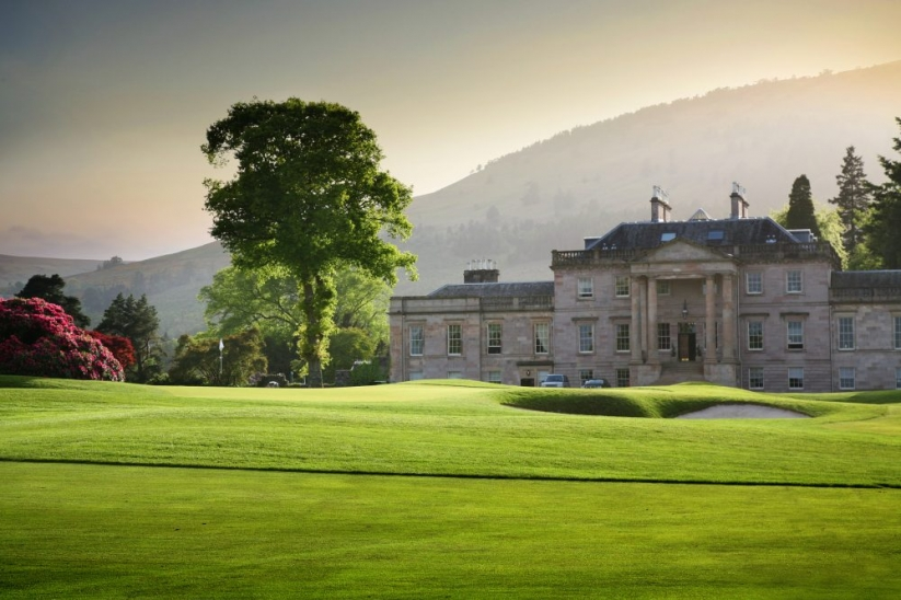 The incredible clubhouse at Loch Lomond Golf Club.
