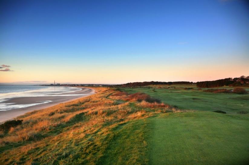The seaside links at Lundin Golf Club, Fife, Scotland.