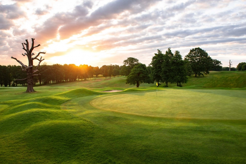 The green contours at Moor Park Golf Club.