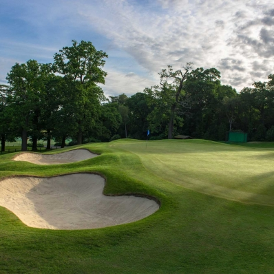 Green-side bunkers of Harry Colt at Moor Park Golf Club.