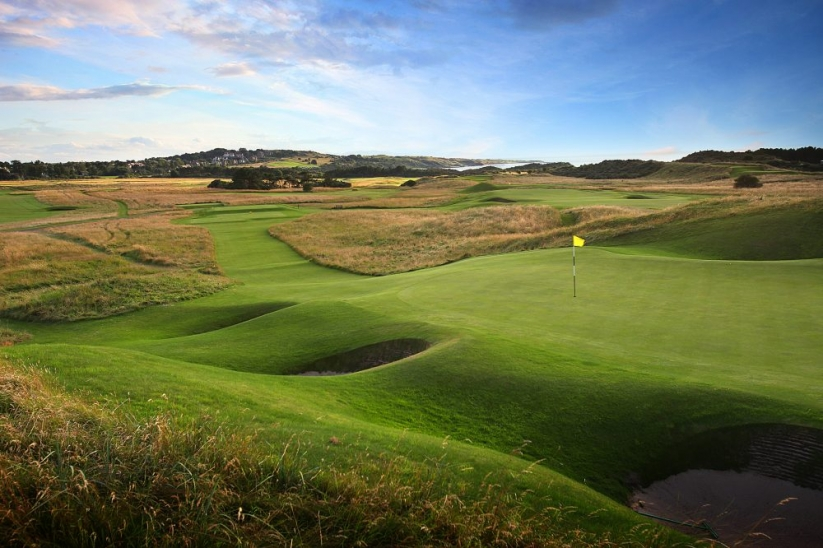 The world-class, par 3 13th hole at Muirfield, Scotland.
