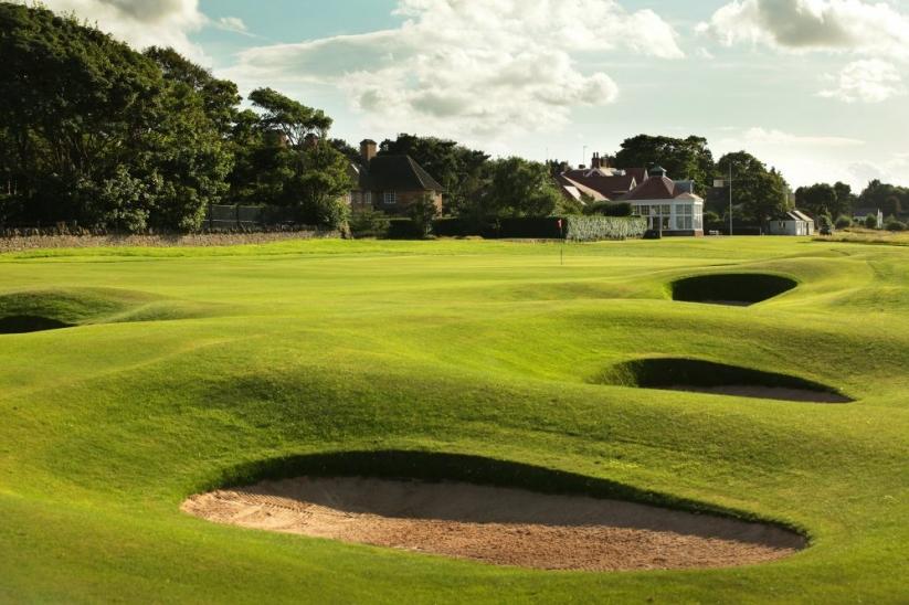 The strategic 9th hole at Muirfield, East Lothian, Scotland.