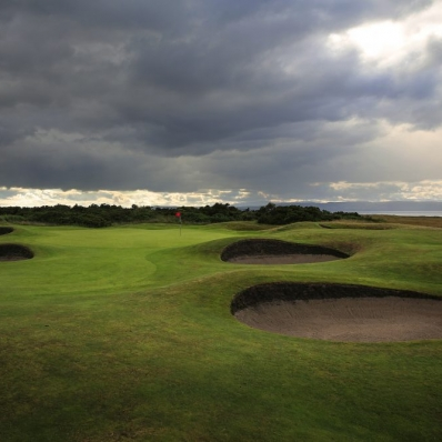 The revetted bunkers at Nairn Golf Club.