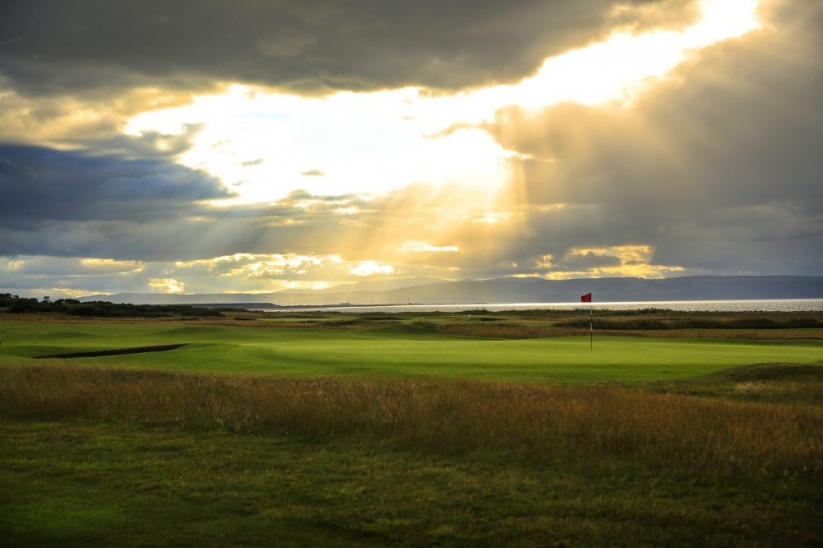 The links with moody skies at Nairn, near Inverness in Scotland.