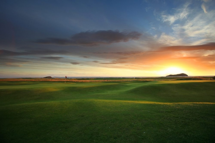 Sunrise at North Berwick Golf Club, East Lothian, Scotland.