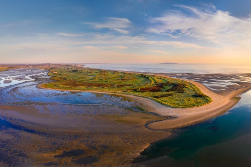 A drone image of the regal Portmarnock Golf Club.