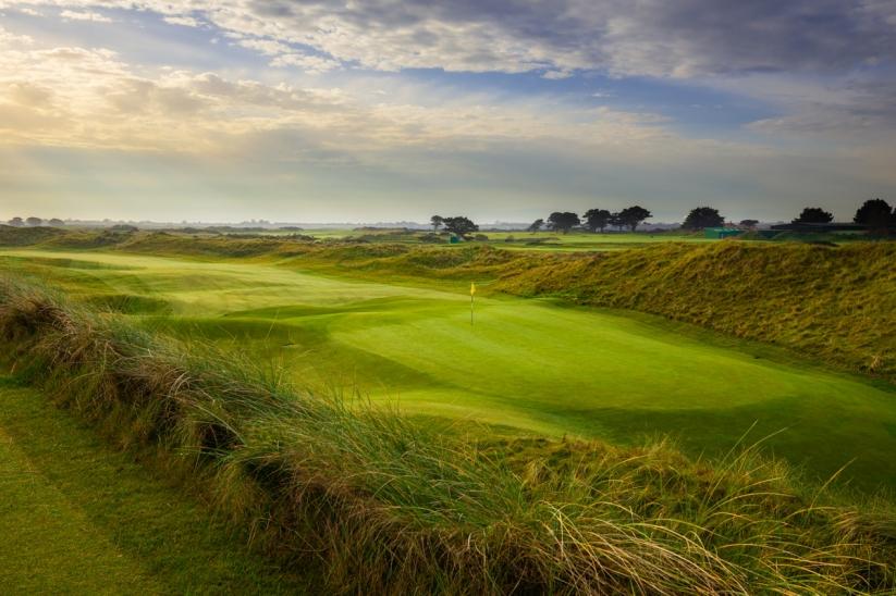 A greensite at Portmarnock Golf Club at sunrise.