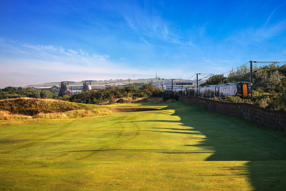The railway on the 1st hole at Prestwick Golf Club.