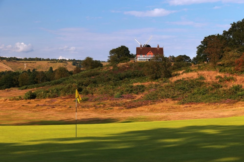 The opening hole at Reigate Heath Golf Club.