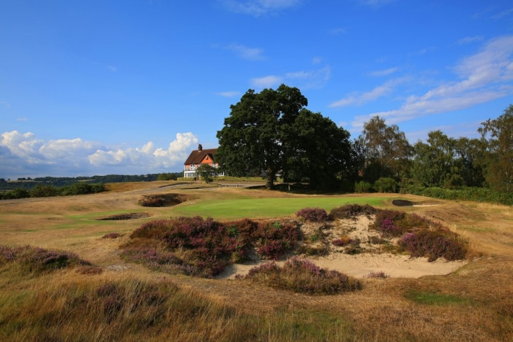 The rugged bunker on the 9th hole at Reigate Heath Golf Club.