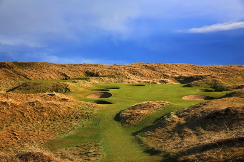 The revetted pot bunkers at Royal Aberdeen Golf Club.