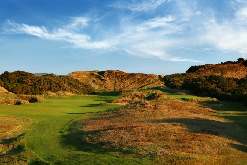The 10th green site at Royal County Down Golf Club.