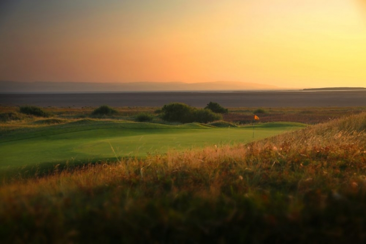 Sunset on the Wirral on the links at Royal Liverpool Golf Club.