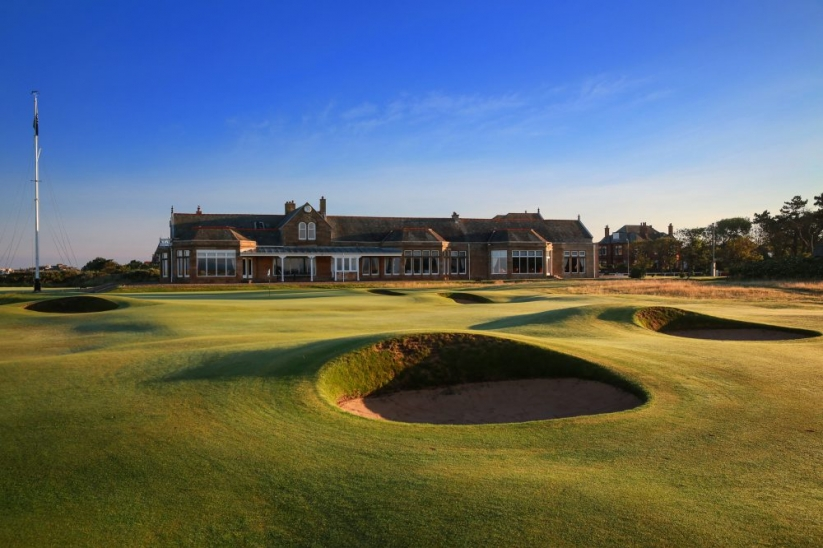 The 18th and clubhouse at Royal Troon Golf Club.