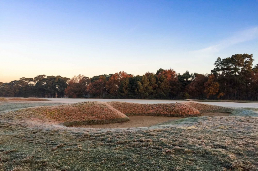 The remnants of Victorian golf course design are visible Royal Worlington Golf Club shown in winter. It is one of the best winter golf deals going!