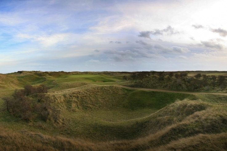 The 7th hole and its depressions at Rye Golf Club.