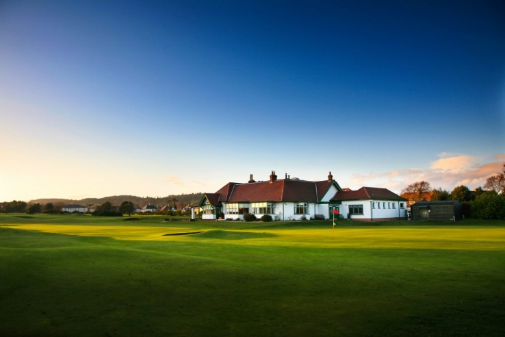 The clubhouse at Scotscraig Golf Club in Fife, Scotland.