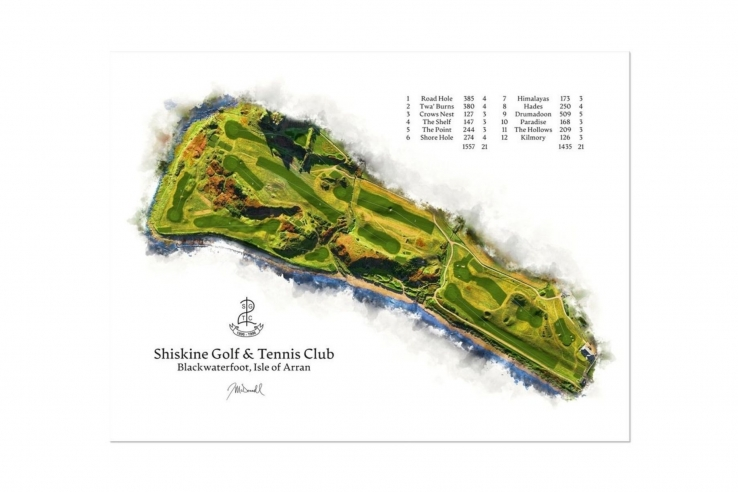 A WaterMap of Shiskine Golf & Tennis Club by Joe Mcdonnell.