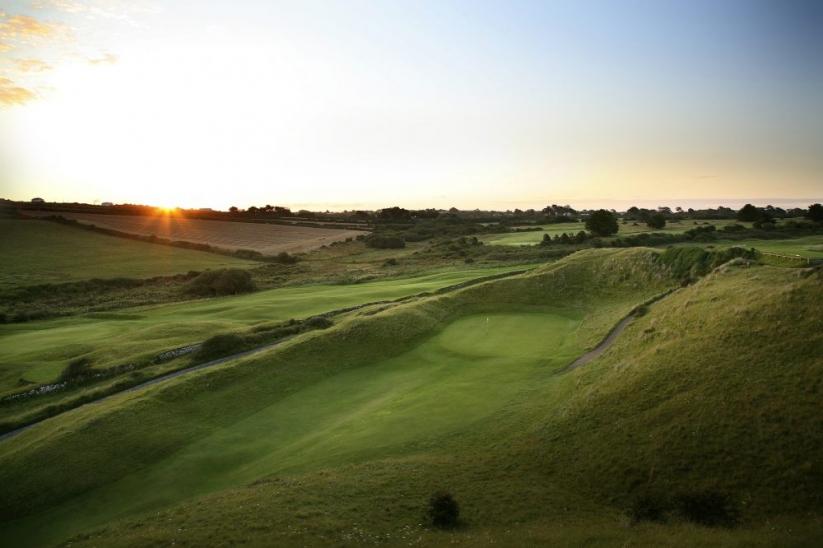 The punchbowl 6th green at St Enodoc Golf Club.