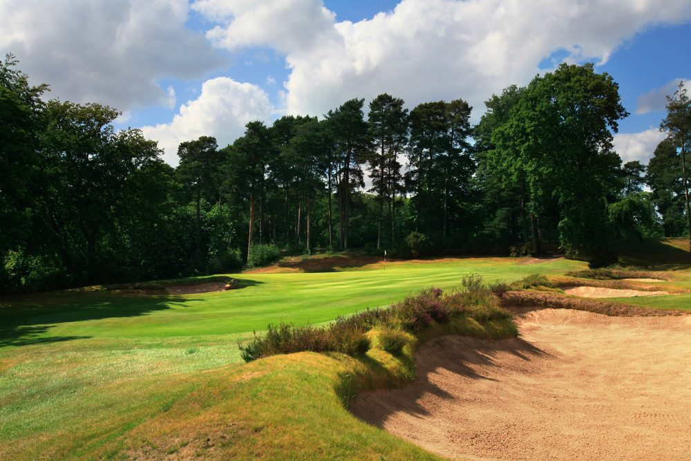The 16th green site with heather clad bunkers.